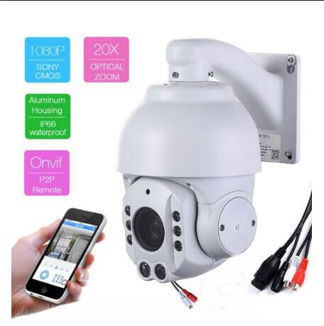 1080P HD 4.7-94mm 20X Auto zoom wireless IP PTZ Cameras Anti-fog P2P remote view wifi ip cameras long IR vision cam