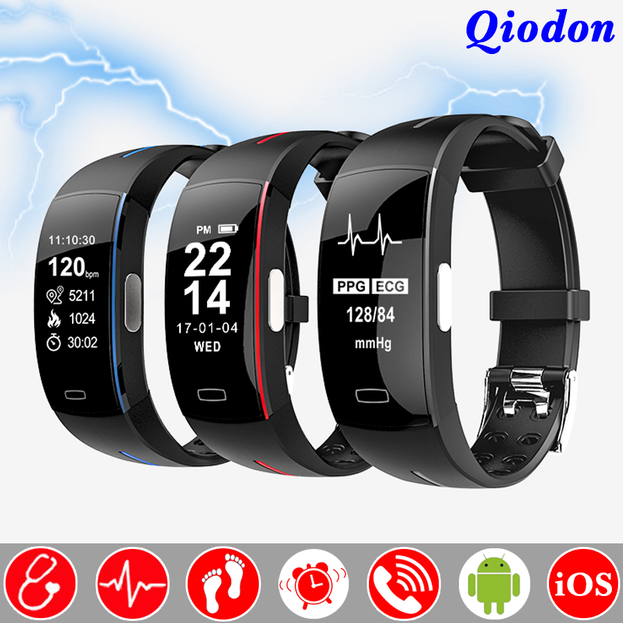 Electrocardiogram Heart Rate Blood Pressure Monitor Fitness Bracelet Smart Band Wristband Waterproof Smartband Pedometer fashion women color screen smart band wristband heart rate blood pressure monitor fitness bracelet tracker smartband pedometer