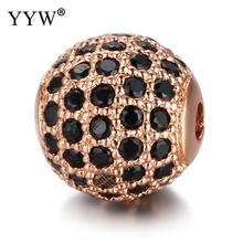 YYW 5pcs/Lot 8mm 10mm Luxury Micro Pave AAA+ Zircon European Spacer Beads For Bracelet Making Jewelry Round Ball Shape Charms