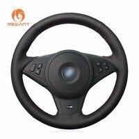 Black Artificial Leather Car Steering Wheel Cover For BMW E60 E63 E64 M5 2007 2008