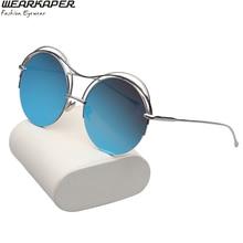 WEARKAPER Fashion Round Sunglasses Luxury Women Brand Designer Half Metal Frame UV400 Mirror Sun Glasses Female For Men
