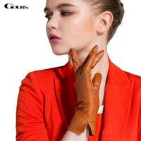 Gours Winter Genuine Leather Gloves for Women Fall 2018 New Fashion Brand Warm Glove Goatskin Mittens Guantes Luvas GSL020