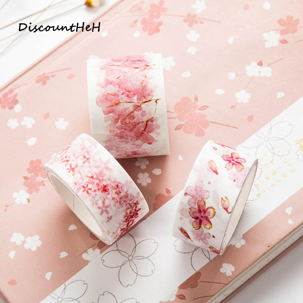 1 Pc  Cherry Blossoms Japanese Paper Washi Tape Office Adhesive Tape Kawaii Decorative Stationery Stickers diy miniature pink cherry blossoms