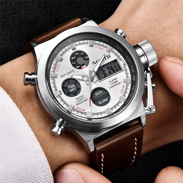 North Mens Watches Top Brand Luxury Quartz Military Watches Men Leather Sports LED Digital Electronic Watch Relogio Masculino