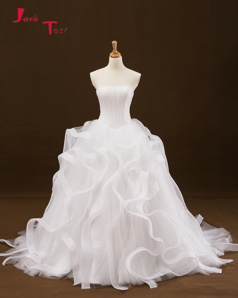 Ruffled Ball Gown Wedding Dress: Jark Tozr Newest Strapless Lace Up Ruffles Skirt White