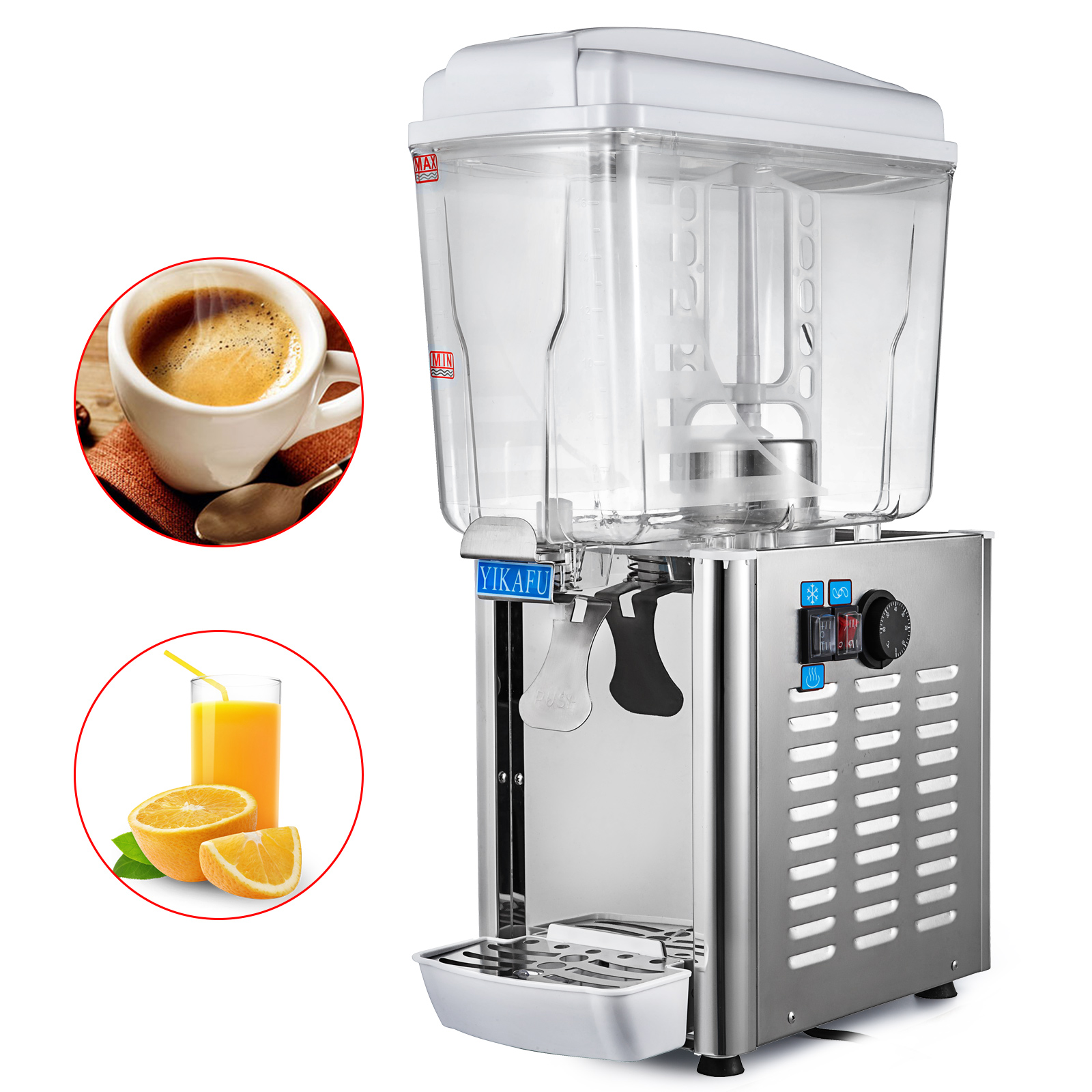 Heating Tempareture  Commercial 18L 4.75Gal Hot Cold Drink Juice Dispenser Beverage Milk Juicer