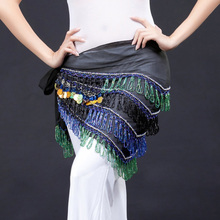 Egypt Belly Dance Hip Wrap Scarf With Tassel Sequins Coins Belt Women Stage Dancewear t303