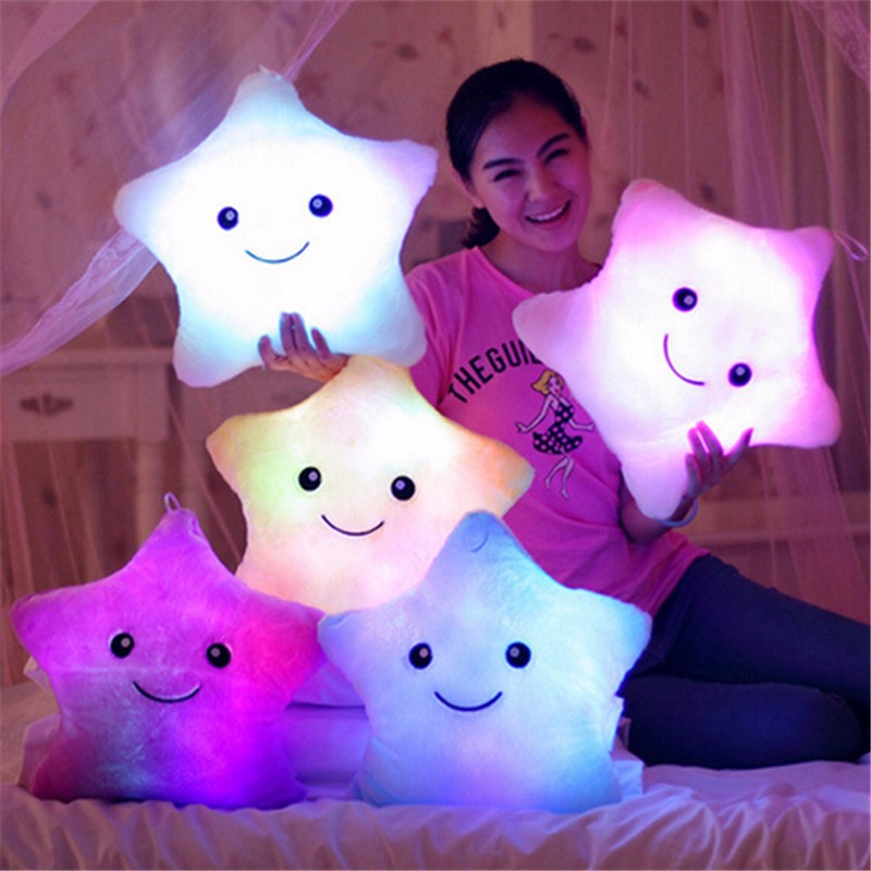 Luminous Colorful Star/Heart/Square Glowing Pillow Christmas Toys For Children Led Light Plush Pillow Toy Lovely Birthday Gift