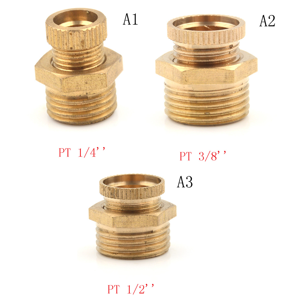 1 Pcs Golden Air Compressor Male Threaded Water Drain Valve Brass Tone PT 1/2 Inch 3/8 Inch 1/4 Inch Drain Valve