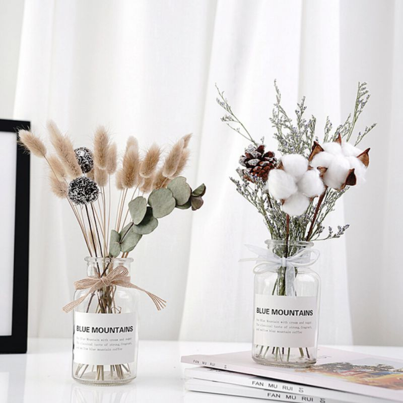 2019 1set Dried Flowers Bouquet and glass Bottle Set Simple Home Merry Christmas Wedding Decoration Ornament Accessories