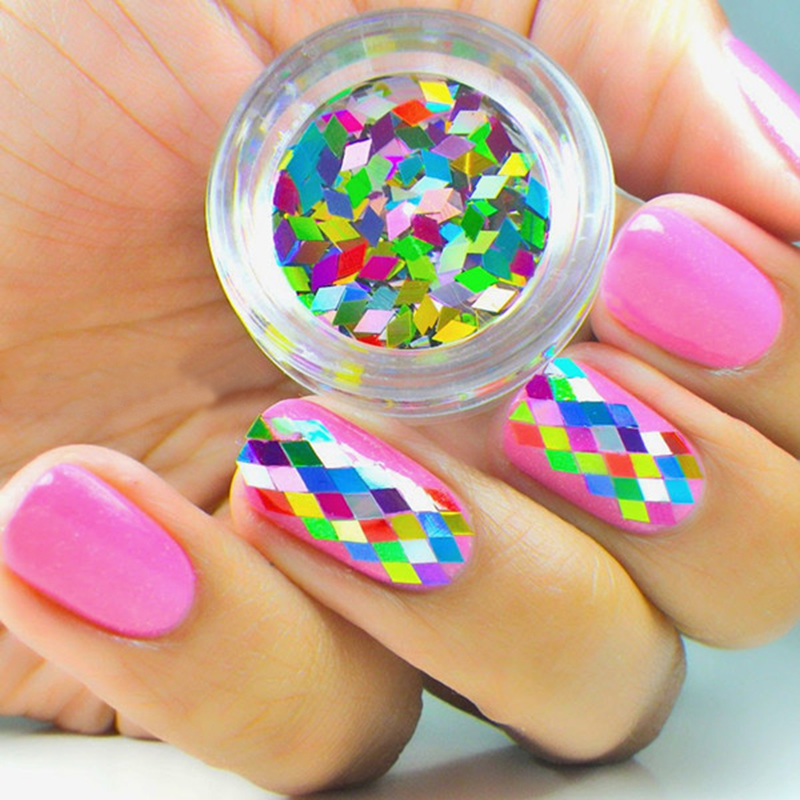 1Box Colorful Nail Art Decorations Hexagon Shape Sheets Tips Nail Art Decoration 3D Nail Art Tip Decorations Nail Stikcer M03351