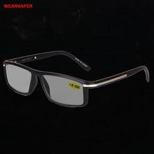 Wearkaper transição photochromic óculos de leitura masculino feminino presbiopia óculos de sol descoloração com diopters 1.0 4.0