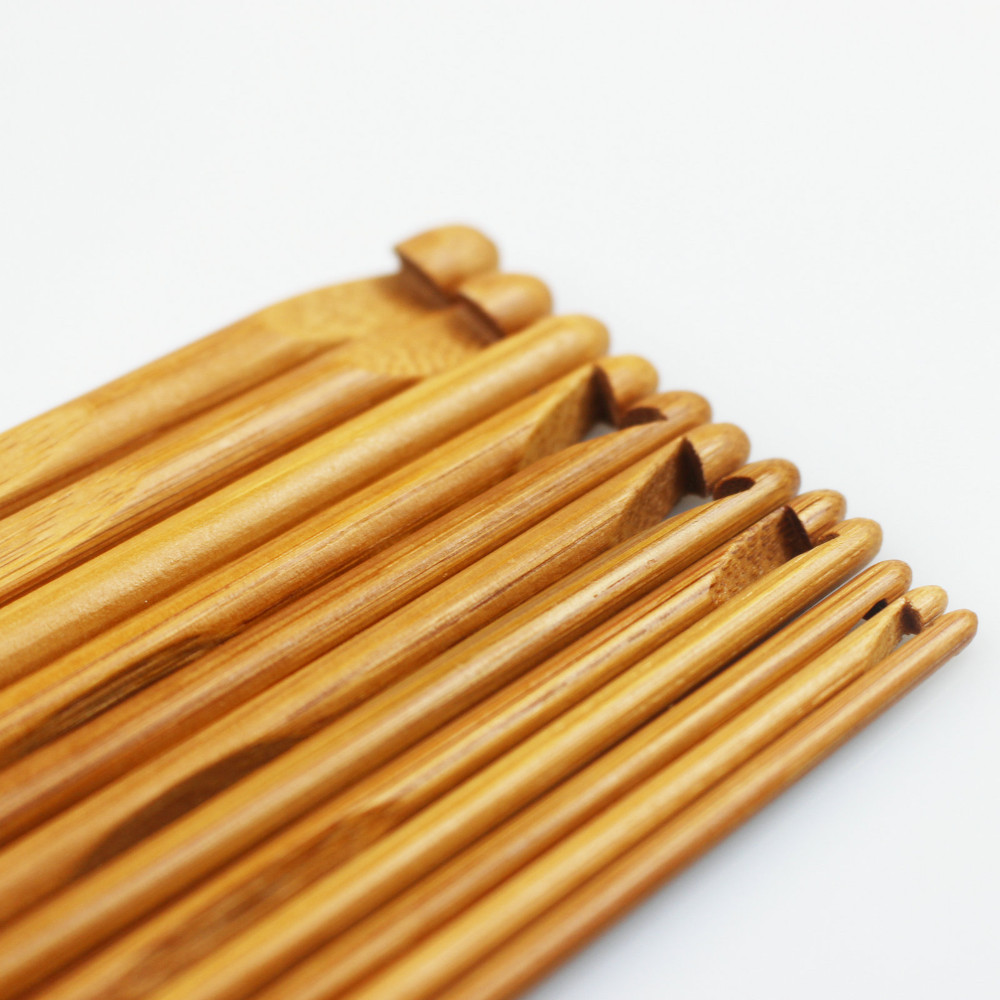 12pcs 6 15cm Carbonized Bamboo Handle Crochet Hooks Knit Weave Yarn Craft Knitting Needles Tools Set Sewing Tools & Accessory Needle Arts & Crafts 3.0-10.0mm