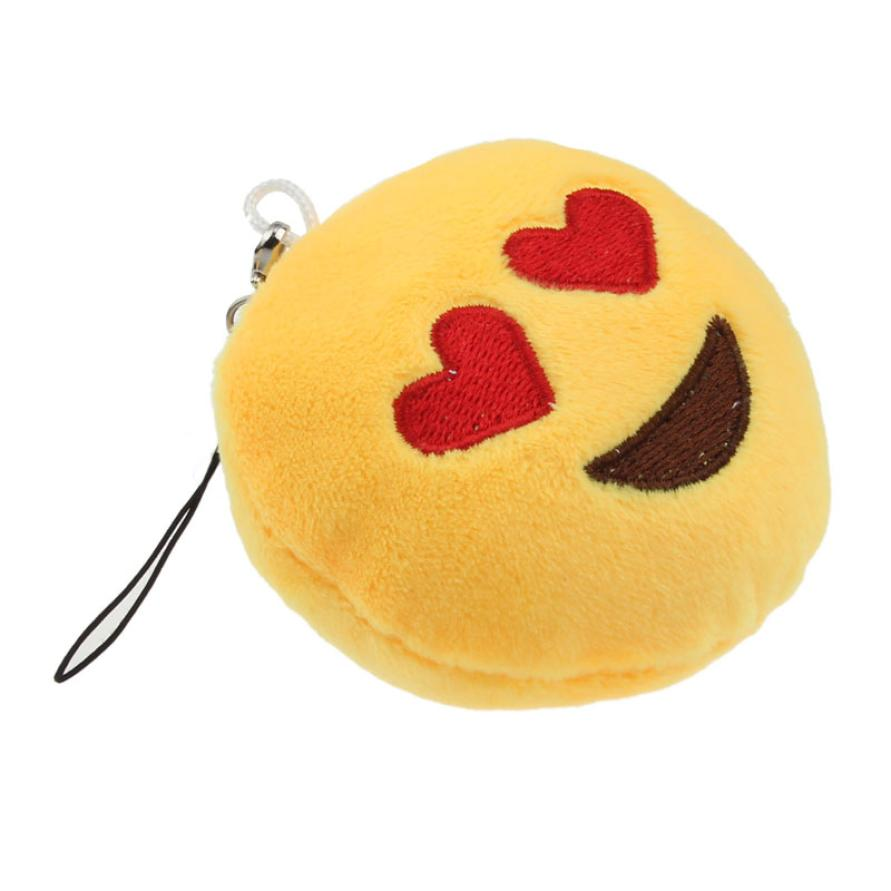 May 14 High Quality Cute Emoji Smiley Emoticon Heart Eyes Key Chain Soft Toy Gift Pendant Bag Accessory420