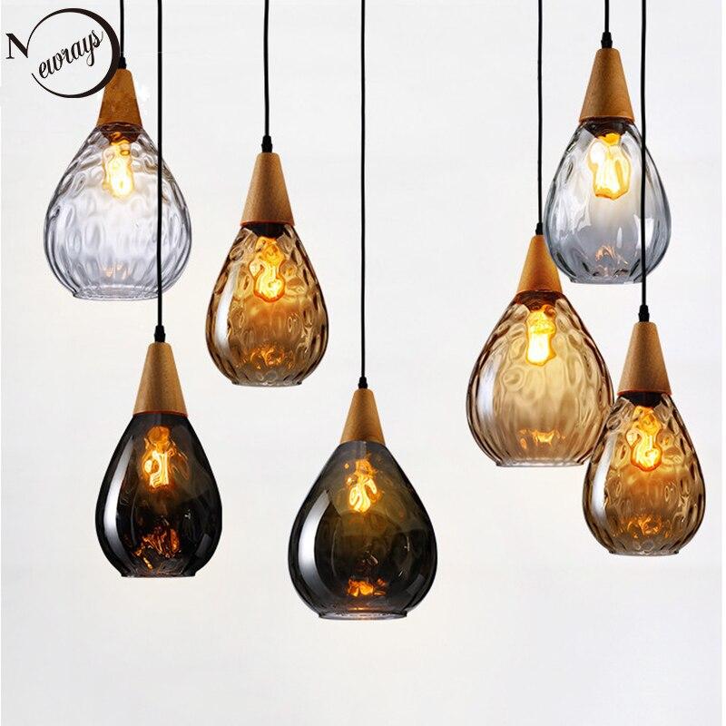 Modern creative Europe glass pendant light LED E27 with 3 colors for bedroom restaurant living room