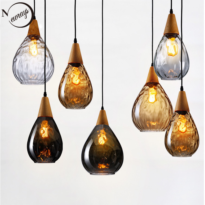 Modern Creative Europe Glass Pendant Light LED E27 With 3 Colors For Bedroom/restaurant/living Room/kitchen/cafe/hotel/office