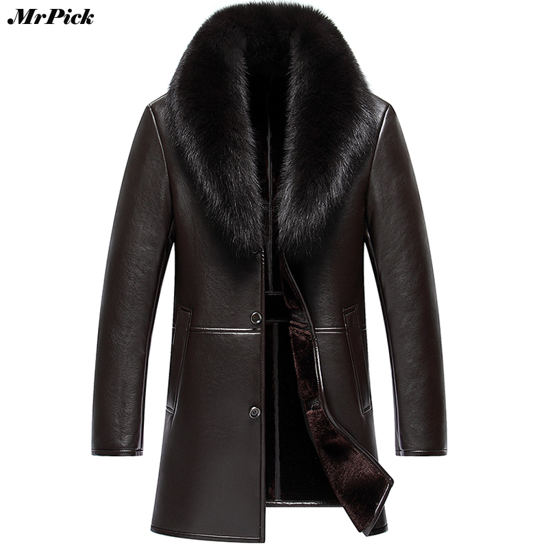 Big Fur Collar Snow Winter Coats Men PU Artificial Leather Motorcycle Hip Hop Jacket E0718-002