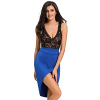 LC2264W Hot sale special design 3 colors lace dress patchwotk top transparent sexy club wear sleeveless S M L women clothes