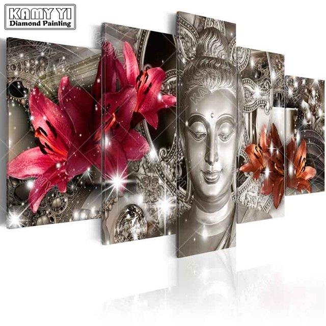 Камни в форме ромба дрель вышитые бриллиантами лилии статуя Будды 5D DIY Алмазная вышивка крестиком на рисунке, мульти картина украшение дома