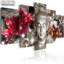 Cuentas cuadradas de Azucena bordado de diamante, estatua de Buda 5D artesanal, pintura de diamantes, punto de cruz, decoración del hogar con múltiples imágenes