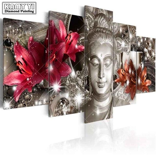 Full Vuông Mũi Khoan Kim Cương Thêu Hoa Huệ Tượng Phật 5D Tự Làm Tranh Gắn Đá Đeo Chéo Nhiều Hình Trang Trí Nhà Cửa