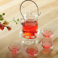 Elegant 400ml Glass teapot with infuser/filter+ 4/6 Cups + Warmer+candle,tea set for Loose leaf/herbal/flower/black/puer tea