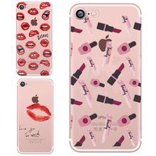 Soft Phone Cover Voor Coque iphone 6 Case 23 Sexy lip Gedrukt Siliconen TPU Dunne Shell Funda Voor iphone 5 se 5s 6s 7 8 7 plus X(China)