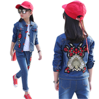 Baby Girl Clothes 6 8 9 10 12Years Girls Clothing Set Denim Jacket + Jeans 2pcs Flower Girl Suit Cotton Casual Girls Outfits