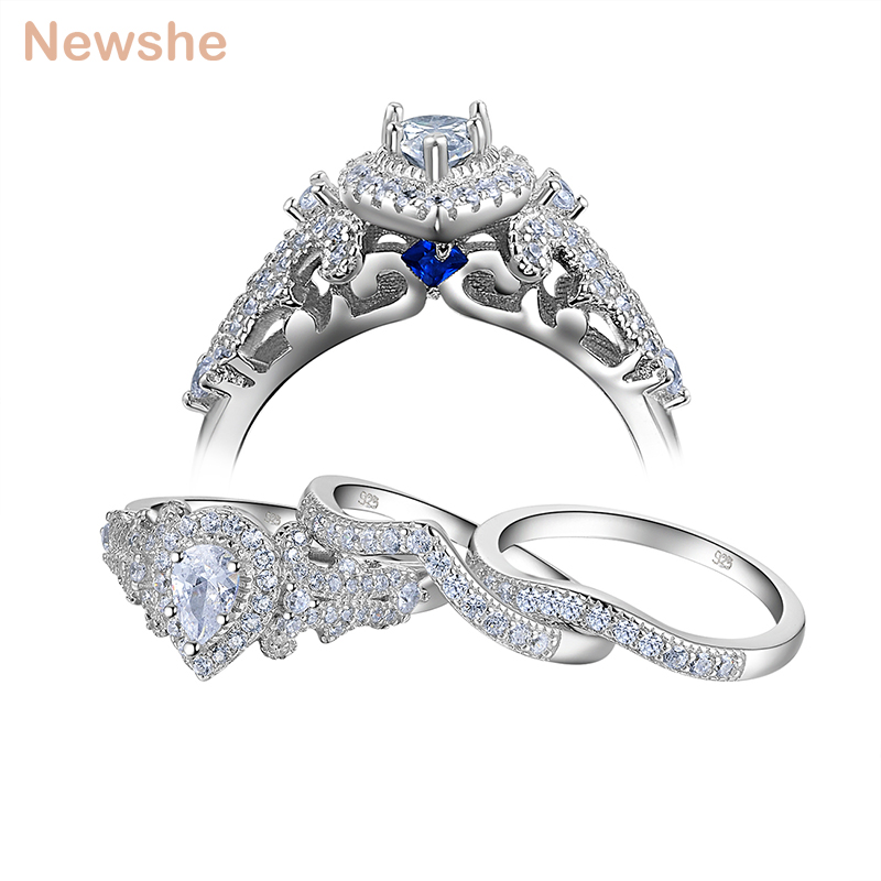 Newshe 3 Pcs Wedding Ring Sets Classic Jewelry 925 Sterling Silver 1.4 Ct Pear Shape AAA CZ Engagement Rings For Women NR5015 newshe 925 sterling silver rose gold color dangle drop earrings 6 ct red rhinestone heart shape aaa cz fashion jewelry for women