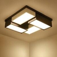 Современный Офисный светильник черный светодио дный/белый личность светодиодный потолочный светильник квадратный гостиная лампа спальня