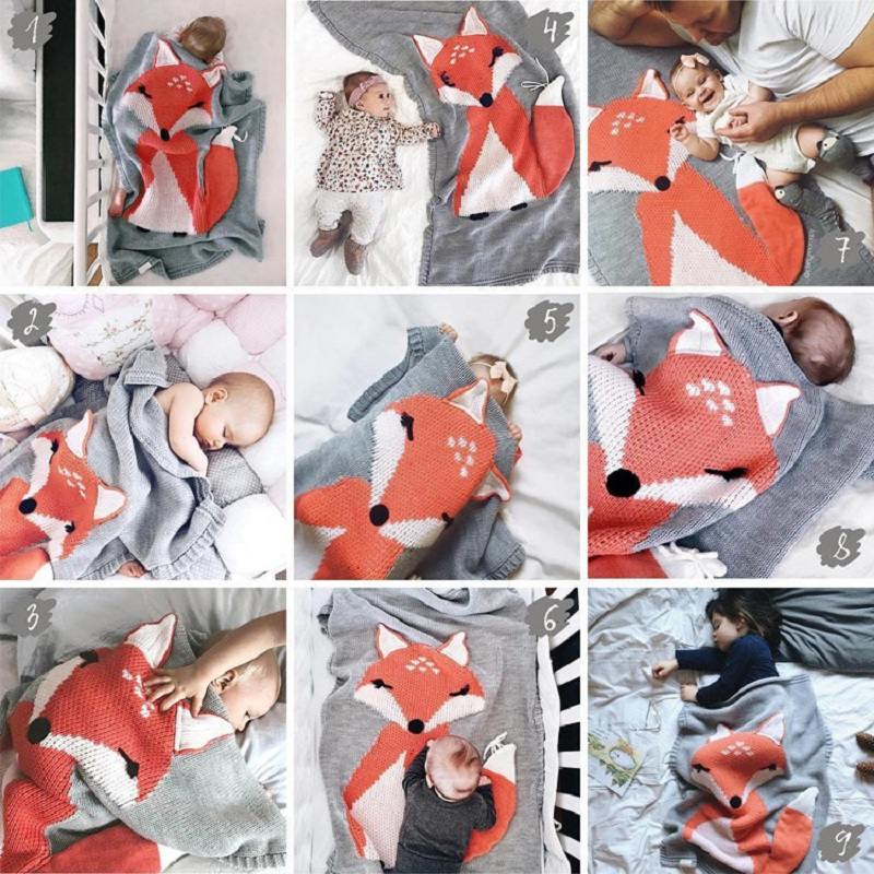 Multi-Function Knitted Play Mat Animals Fox Baby Play Mats Blanket Carpet Rug Child Bed Room Decoration Nordic Style Kids Decor ocube tri fold ultra slim tpu silicon back folio stand holder pu leather case cover for apple ipad 6 ipad air 2 9 7 tablet