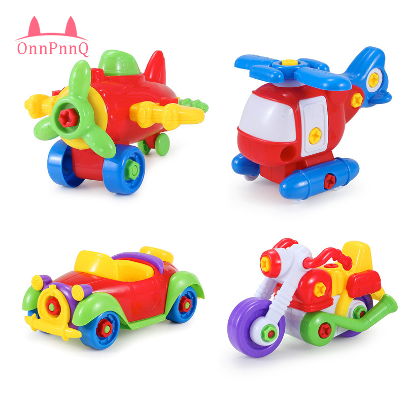 OnnPnnQ New DIY Educational Toys Disassembling Small Plane Building Blocks Children Assembled Model Tool clamp With Screwdriver gudi new toys educational assembled military war weapon vehicle tank plane 8 in 1 plastic building blocks toys for children