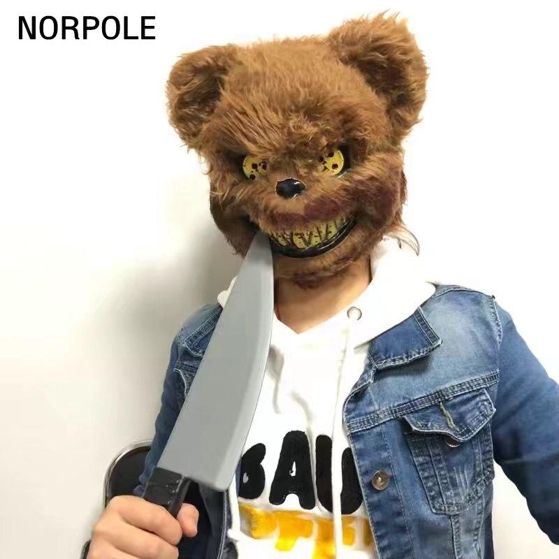 Teddy Bear Mask Plush Plastic Full Face Masks Toy Scary Killer Adult