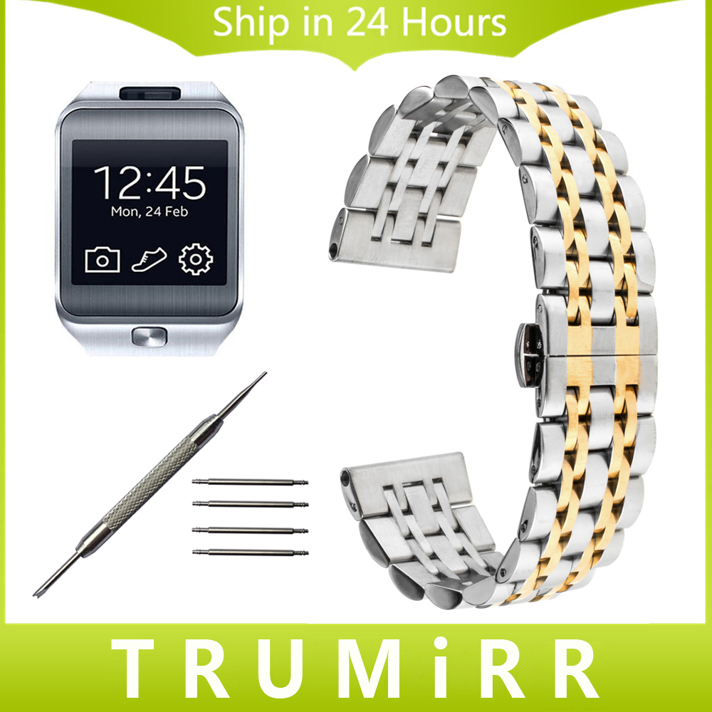 22mm Stainless Steel Watch Band for Samsung Gear 2 R380 Neo R381 Live R382 Moto 360