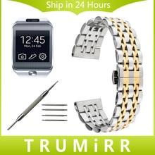 22mm de acero inoxidable reloj band para samsung gear 2 r380 neo r381 vivo r382 moto 360 2 46mm de la muñeca correa de hebilla de mariposa pulsera