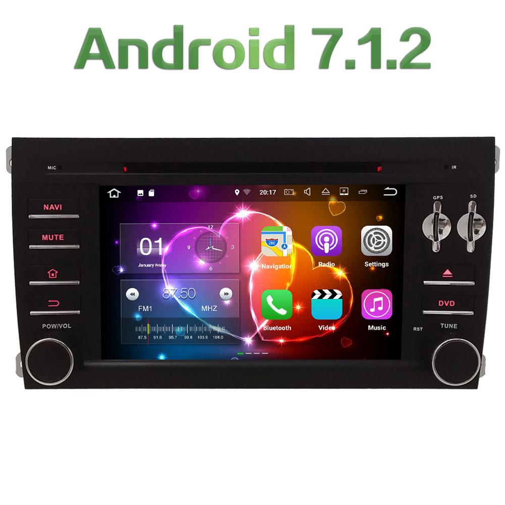 7 Quad Core Android 7.1.2 2GB RAM 3G 4G WIFI DAB+ SWC Car DVD Multimedia Player Video Radio For Porsche Cayenne 2003 2010