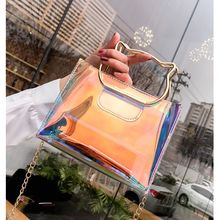 Women Plastic Messenger Handbag Transparent Laser Handbag Clutch Shoulder Crossbody Bag Chain Bag Clear Bag