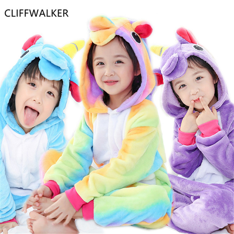 Wholesale Flannel Winter Pegasus Christmas Pajamas Horse Pajamas For Boy Girls Kids Cartoon Animals Hooded Sleepwear