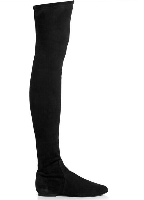 Cuissardes Chaude Taille Grande Rond Showed Color Longues As Stretch Suédé Noir Sur as Vente Bottes Plat En Le Genou Color Élastique Bout Femme 10 Cuir dtarqwa