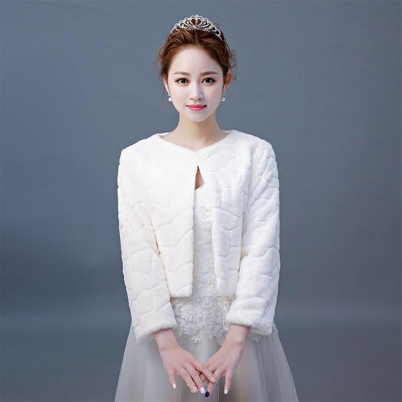 Hot Sale Fur Boleros Wedding Wraps Women Winter 3/4 Length Sleeves Bridal Fur Jacket Warm Fur Bridal Jacket Elegant Evening Coat