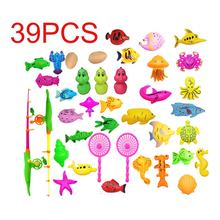 39Pcs Set Plastic Magnetic Fishing Toys Baby Bath Toy Fishing Game 1 poor 2 Poles 2 Nets 35 Magnet Fish Indoor Outdoor Fun Baby(China)
