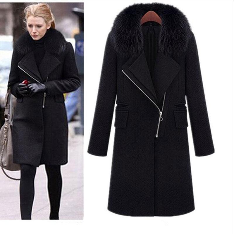 Winter Schwarz Faux Pelzkragen Mantel Jacke Frauen 2019 Neue Mode - Damenbekleidung - Foto 3