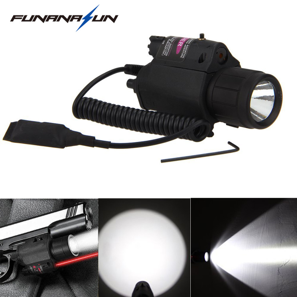 Tactical Red Laser Sight LED Flashlight Combo 3 Type of Switch Mode for Black Airsoft Handgun 20mm Picatinny Rail 5mw red laser gun grip w flashlight for 20mm rail black 3 x cr123a