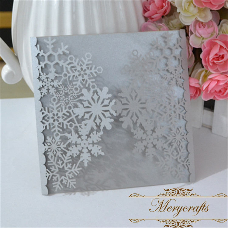 free shipping snowflakes invitation card laser cut light silver