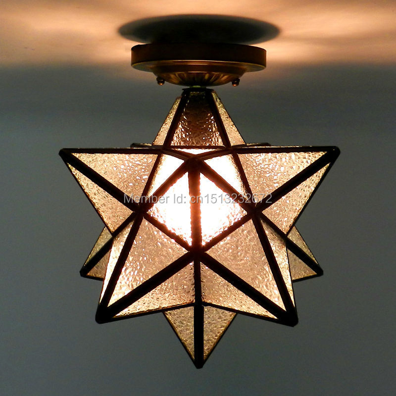 novel retro cafe bar ceiling light,five-pointed star glass shade iron  material 20cm