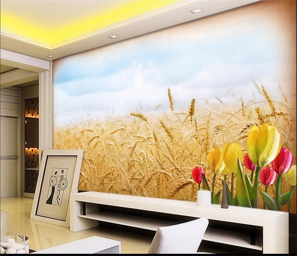 Custom mural living room wallpaper wall sticker wheat paddy autumn ...