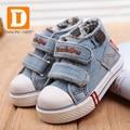 2017 Nova Primavera Sapatos de Bebê Da Marca Denim Jeans Lona Sapatos Da Criança Das Meninas Dos Meninos Primeiro Walker Calçados De Borracha Sneakers Casuais