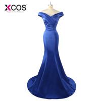 2017 Royal Blue Prom Dress V Neck Off Shoulder Satin Long Mermaid Evening Gowns Formal party Dress Robe De Soiree SC849