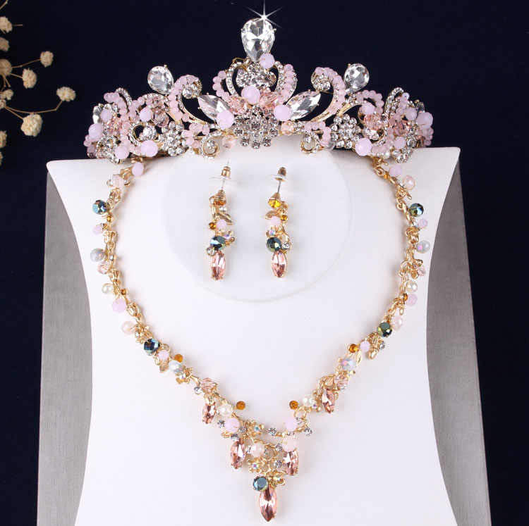 Baroque Retro Pink Crystal Beads Flowers Bridal Costume Jewelry Sets Statement Necklace Earrings Tiaras Set Wedding Jewelry Set
