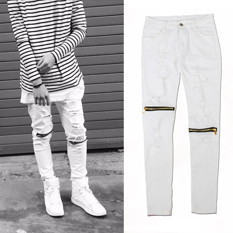 White Ripped Jeans For Men - Jon Jean